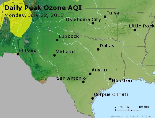 Peak Ozone (8-hour) - http://files.airnowtech.org/airnow/2013/20130722/peak_o3_tx_ok.jpg