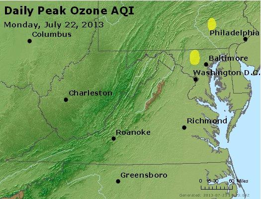 Peak Ozone (8-hour) - http://files.airnowtech.org/airnow/2013/20130722/peak_o3_va_wv_md_de_dc.jpg