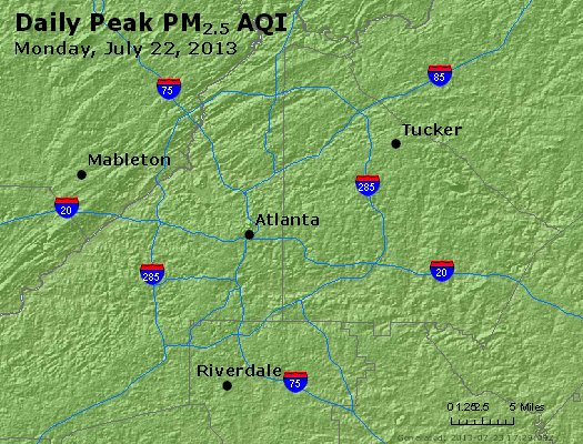 Peak Particles PM<sub>2.5</sub> (24-hour) - http://files.airnowtech.org/airnow/2013/20130722/peak_pm25_atlanta_ga.jpg