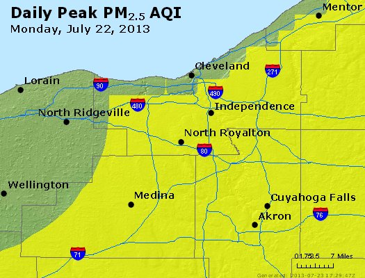 Peak Particles PM<sub>2.5</sub> (24-hour) - http://files.airnowtech.org/airnow/2013/20130722/peak_pm25_cleveland_oh.jpg