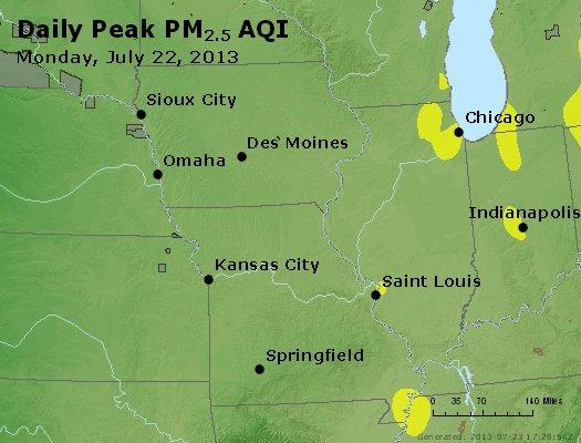 Peak Particles PM<sub>2.5</sub> (24-hour) - http://files.airnowtech.org/airnow/2013/20130722/peak_pm25_ia_il_mo.jpg