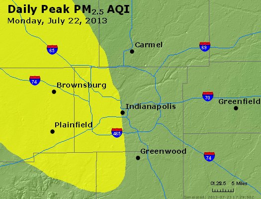 Peak Particles PM<sub>2.5</sub> (24-hour) - http://files.airnowtech.org/airnow/2013/20130722/peak_pm25_indianapolis_in.jpg