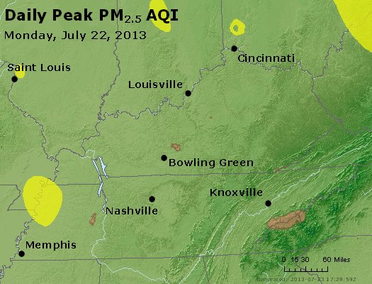 Peak Particles PM<sub>2.5</sub> (24-hour) - http://files.airnowtech.org/airnow/2013/20130722/peak_pm25_ky_tn.jpg