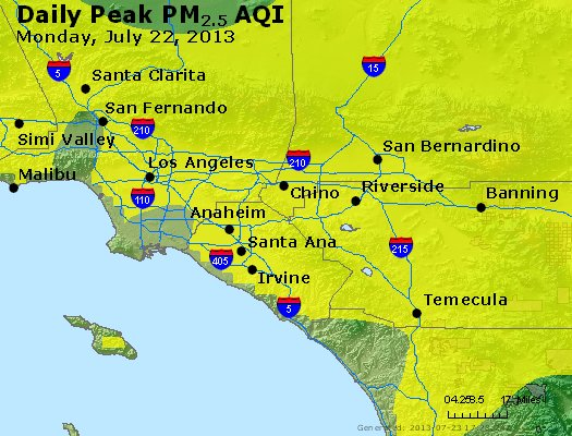 Peak Particles PM<sub>2.5</sub> (24-hour) - http://files.airnowtech.org/airnow/2013/20130722/peak_pm25_losangeles_ca.jpg