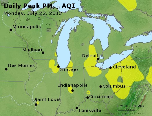 Peak Particles PM<sub>2.5</sub> (24-hour) - http://files.airnowtech.org/airnow/2013/20130722/peak_pm25_mi_in_oh.jpg
