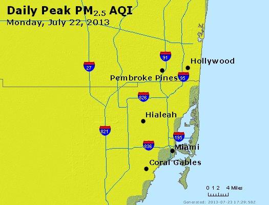 Peak Particles PM<sub>2.5</sub> (24-hour) - http://files.airnowtech.org/airnow/2013/20130722/peak_pm25_miami_fl.jpg