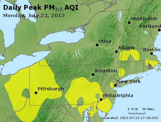 Peak Particles PM<sub>2.5</sub> (24-hour) - http://files.airnowtech.org/airnow/2013/20130722/peak_pm25_ny_pa_nj.jpg