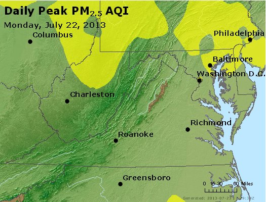 Peak Particles PM<sub>2.5</sub> (24-hour) - http://files.airnowtech.org/airnow/2013/20130722/peak_pm25_va_wv_md_de_dc.jpg
