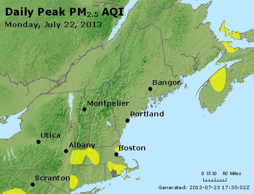 Peak Particles PM<sub>2.5</sub> (24-hour) - http://files.airnowtech.org/airnow/2013/20130722/peak_pm25_vt_nh_ma_ct_ri_me.jpg