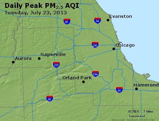 Peak Particles PM<sub>2.5</sub> (24-hour) - http://files.airnowtech.org/airnow/2013/20130723/peak_pm25_chicago_il.jpg