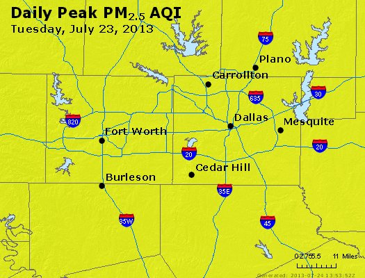 Peak Particles PM<sub>2.5</sub> (24-hour) - http://files.airnowtech.org/airnow/2013/20130723/peak_pm25_dallas_tx.jpg