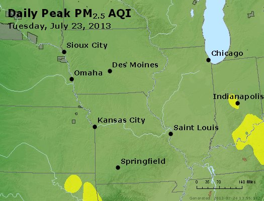 Peak Particles PM<sub>2.5</sub> (24-hour) - http://files.airnowtech.org/airnow/2013/20130723/peak_pm25_ia_il_mo.jpg