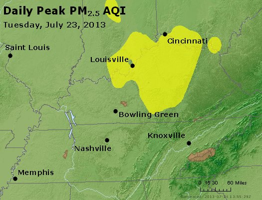 Peak Particles PM<sub>2.5</sub> (24-hour) - http://files.airnowtech.org/airnow/2013/20130723/peak_pm25_ky_tn.jpg