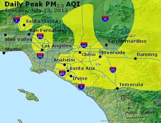 Peak Particles PM<sub>2.5</sub> (24-hour) - http://files.airnowtech.org/airnow/2013/20130723/peak_pm25_losangeles_ca.jpg