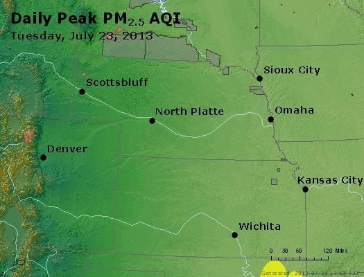 Peak Particles PM<sub>2.5</sub> (24-hour) - http://files.airnowtech.org/airnow/2013/20130723/peak_pm25_ne_ks.jpg