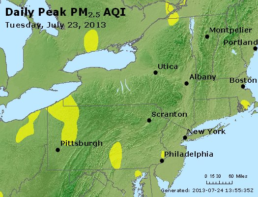 Peak Particles PM<sub>2.5</sub> (24-hour) - http://files.airnowtech.org/airnow/2013/20130723/peak_pm25_ny_pa_nj.jpg