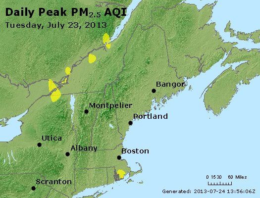 Peak Particles PM<sub>2.5</sub> (24-hour) - http://files.airnowtech.org/airnow/2013/20130723/peak_pm25_vt_nh_ma_ct_ri_me.jpg