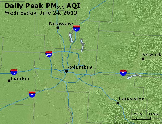 Peak Particles PM<sub>2.5</sub> (24-hour) - http://files.airnowtech.org/airnow/2013/20130724/peak_pm25_columbus_oh.jpg