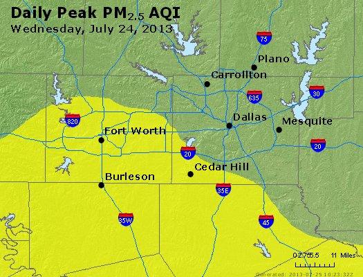 Peak Particles PM<sub>2.5</sub> (24-hour) - http://files.airnowtech.org/airnow/2013/20130724/peak_pm25_dallas_tx.jpg