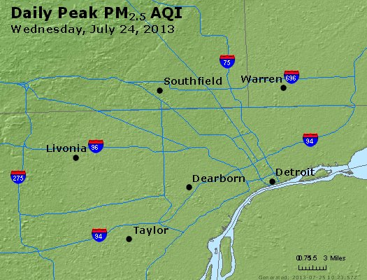 Peak Particles PM<sub>2.5</sub> (24-hour) - http://files.airnowtech.org/airnow/2013/20130724/peak_pm25_detroit_mi.jpg