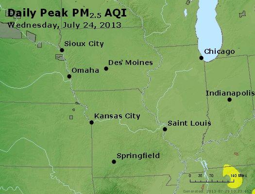 Peak Particles PM<sub>2.5</sub> (24-hour) - http://files.airnowtech.org/airnow/2013/20130724/peak_pm25_ia_il_mo.jpg