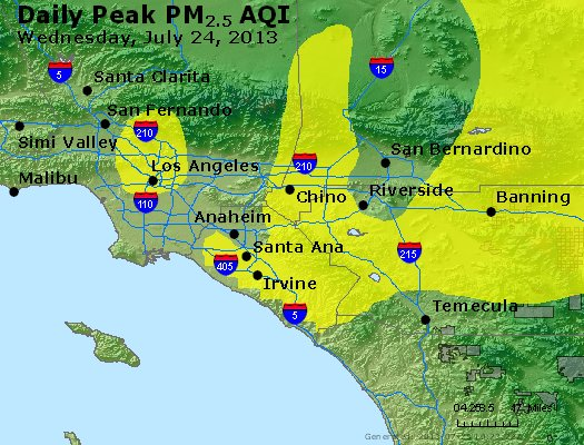 Peak Particles PM<sub>2.5</sub> (24-hour) - http://files.airnowtech.org/airnow/2013/20130724/peak_pm25_losangeles_ca.jpg