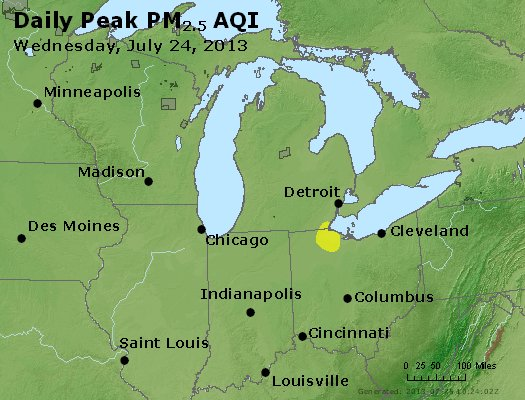 Peak Particles PM<sub>2.5</sub> (24-hour) - http://files.airnowtech.org/airnow/2013/20130724/peak_pm25_mi_in_oh.jpg