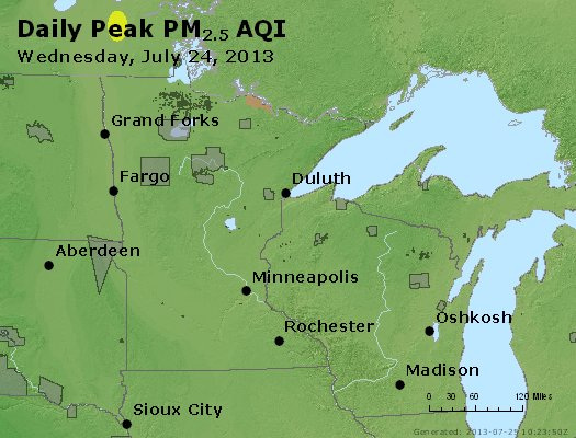 Peak Particles PM<sub>2.5</sub> (24-hour) - http://files.airnowtech.org/airnow/2013/20130724/peak_pm25_mn_wi.jpg