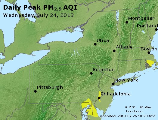 Peak Particles PM<sub>2.5</sub> (24-hour) - http://files.airnowtech.org/airnow/2013/20130724/peak_pm25_ny_pa_nj.jpg
