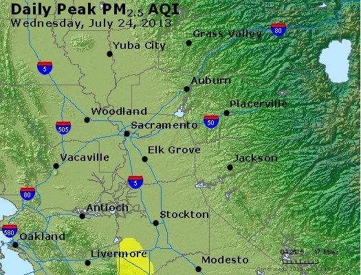 Peak Particles PM<sub>2.5</sub> (24-hour) - http://files.airnowtech.org/airnow/2013/20130724/peak_pm25_sacramento_ca.jpg