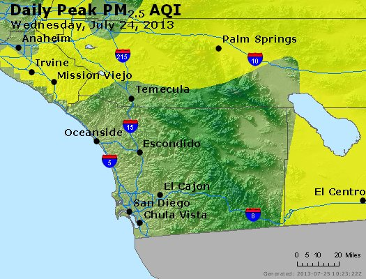 Peak Particles PM<sub>2.5</sub> (24-hour) - http://files.airnowtech.org/airnow/2013/20130724/peak_pm25_sandiego_ca.jpg