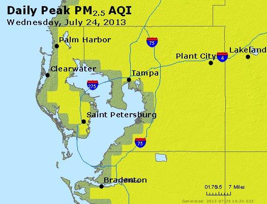Peak Particles PM<sub>2.5</sub> (24-hour) - http://files.airnowtech.org/airnow/2013/20130724/peak_pm25_tampa_fl.jpg