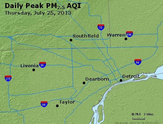 Peak Particles PM<sub>2.5</sub> (24-hour) - http://files.airnowtech.org/airnow/2013/20130725/peak_pm25_detroit_mi.jpg