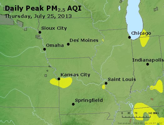 Peak Particles PM<sub>2.5</sub> (24-hour) - http://files.airnowtech.org/airnow/2013/20130725/peak_pm25_ia_il_mo.jpg
