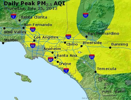 Peak Particles PM<sub>2.5</sub> (24-hour) - http://files.airnowtech.org/airnow/2013/20130725/peak_pm25_losangeles_ca.jpg