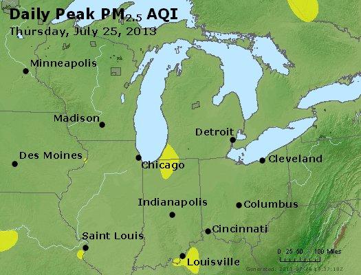 Peak Particles PM<sub>2.5</sub> (24-hour) - http://files.airnowtech.org/airnow/2013/20130725/peak_pm25_mi_in_oh.jpg