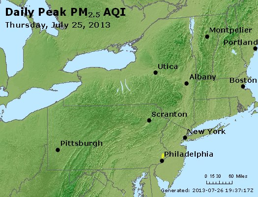 Peak Particles PM<sub>2.5</sub> (24-hour) - http://files.airnowtech.org/airnow/2013/20130725/peak_pm25_ny_pa_nj.jpg