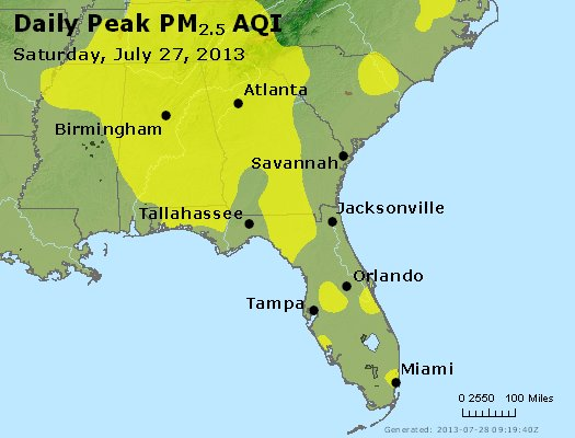 Peak Particles PM<sub>2.5</sub> (24-hour) - http://files.airnowtech.org/airnow/2013/20130727/peak_pm25_al_ga_fl.jpg
