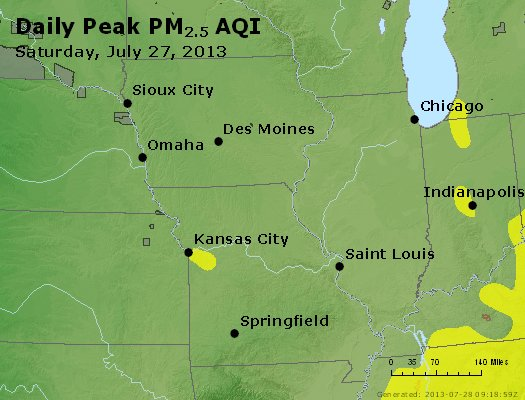 Peak Particles PM<sub>2.5</sub> (24-hour) - http://files.airnowtech.org/airnow/2013/20130727/peak_pm25_ia_il_mo.jpg