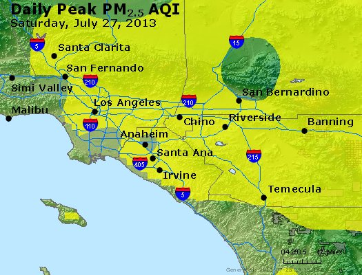 Peak Particles PM<sub>2.5</sub> (24-hour) - http://files.airnowtech.org/airnow/2013/20130727/peak_pm25_losangeles_ca.jpg