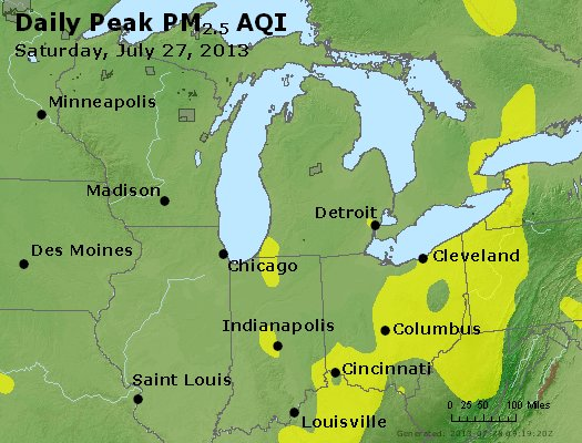 Peak Particles PM<sub>2.5</sub> (24-hour) - http://files.airnowtech.org/airnow/2013/20130727/peak_pm25_mi_in_oh.jpg