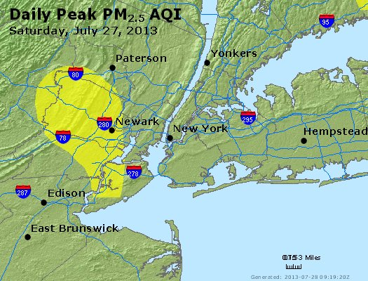 Peak Particles PM<sub>2.5</sub> (24-hour) - http://files.airnowtech.org/airnow/2013/20130727/peak_pm25_newyork_ny.jpg