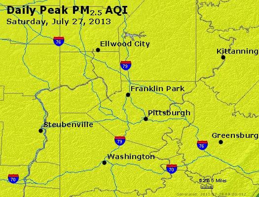 Peak Particles PM<sub>2.5</sub> (24-hour) - http://files.airnowtech.org/airnow/2013/20130727/peak_pm25_pittsburgh_pa.jpg