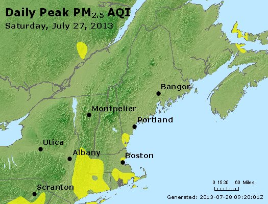 Peak Particles PM<sub>2.5</sub> (24-hour) - http://files.airnowtech.org/airnow/2013/20130727/peak_pm25_vt_nh_ma_ct_ri_me.jpg