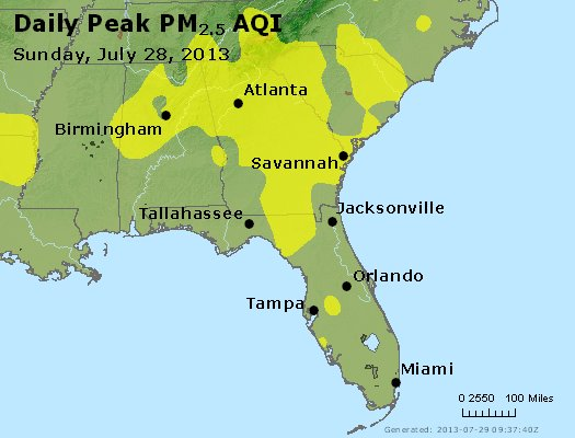Peak Particles PM<sub>2.5</sub> (24-hour) - http://files.airnowtech.org/airnow/2013/20130728/peak_pm25_al_ga_fl.jpg