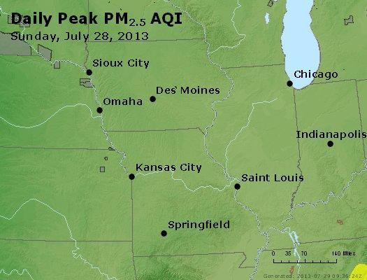 Peak Particles PM<sub>2.5</sub> (24-hour) - http://files.airnowtech.org/airnow/2013/20130728/peak_pm25_ia_il_mo.jpg