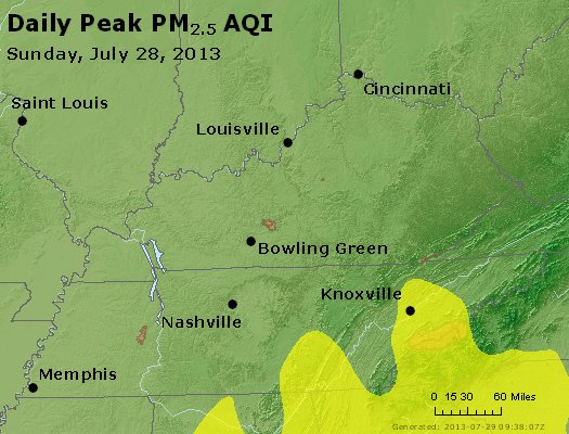 Peak Particles PM<sub>2.5</sub> (24-hour) - http://files.airnowtech.org/airnow/2013/20130728/peak_pm25_ky_tn.jpg