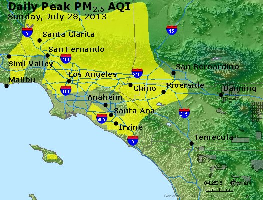 Peak Particles PM<sub>2.5</sub> (24-hour) - http://files.airnowtech.org/airnow/2013/20130728/peak_pm25_losangeles_ca.jpg
