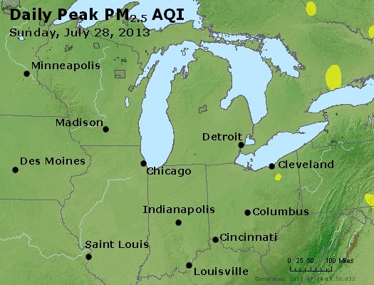 Peak Particles PM<sub>2.5</sub> (24-hour) - http://files.airnowtech.org/airnow/2013/20130728/peak_pm25_mi_in_oh.jpg