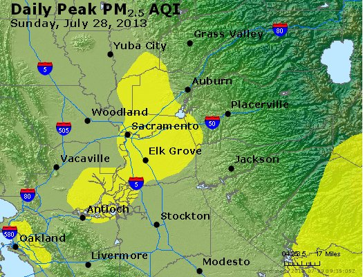 Peak Particles PM<sub>2.5</sub> (24-hour) - http://files.airnowtech.org/airnow/2013/20130728/peak_pm25_sacramento_ca.jpg